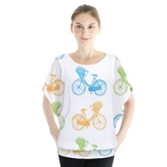 Vintage Bikes With Basket Of Flowers Colorful Wallpaper Background Illustration Blouse