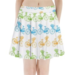 Vintage Bikes With Basket Of Flowers Colorful Wallpaper Background Illustration Pleated Mini Skirt