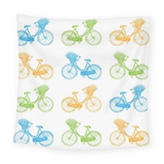 Vintage Bikes With Basket Of Flowers Colorful Wallpaper Background Illustration Square Tapestry (large)