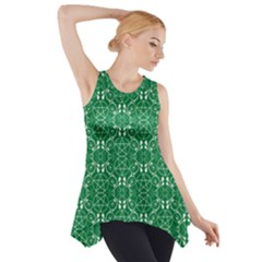 Green With White Pagan Pentacles Wiccan Side Drop Tank Tunic