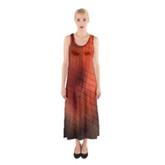 Background Technical Design With Orange Colors And Details Sleeveless Maxi Dress