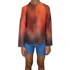 Background Technical Design With Orange Colors And Details Kids  Long Sleeve Swimwear