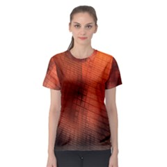 Background Technical Design With Orange Colors And Details Women s Sport Mesh Tee