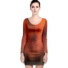 Background Technical Design With Orange Colors And Details Long Sleeve Bodycon Dress