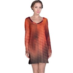 Background Technical Design With Orange Colors And Details Long Sleeve Nightdress