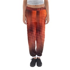 Background Technical Design With Orange Colors And Details Women s Jogger Sweatpants