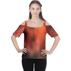 Background Technical Design With Orange Colors And Details Women s Cutout Shoulder Tee