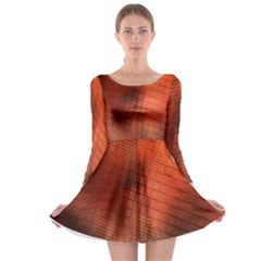 Background Technical Design With Orange Colors And Details Long Sleeve Skater Dress