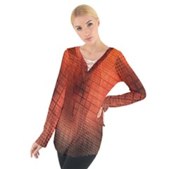Background Technical Design With Orange Colors And Details Women s Tie Up Tee