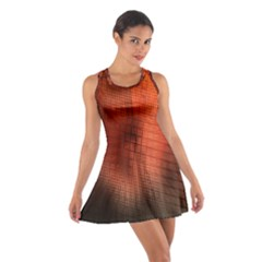 Background Technical Design With Orange Colors And Details Cotton Racerback Dress