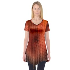 Background Technical Design With Orange Colors And Details Short Sleeve Tunic