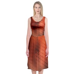 Background Technical Design With Orange Colors And Details Midi Sleeveless Dress