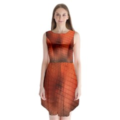 Background Technical Design With Orange Colors And Details Sleeveless Chiffon Dress