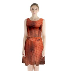 Background Technical Design With Orange Colors And Details Sleeveless Chiffon Waist Tie Dress