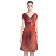 Background Technical Design With Orange Colors And Details Short Sleeve Front Wrap Dress