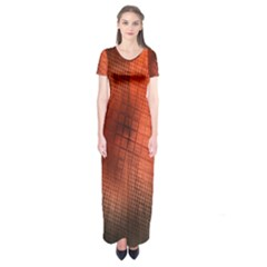 Background Technical Design With Orange Colors And Details Short Sleeve Maxi Dress