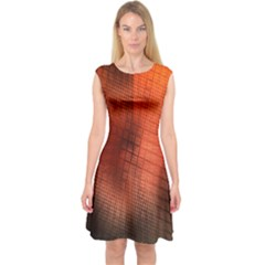 Background Technical Design With Orange Colors And Details Capsleeve Midi Dress