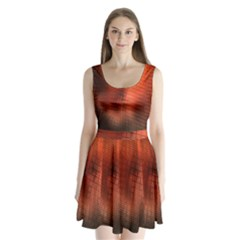 Background Technical Design With Orange Colors And Details Split Back Mini Dress