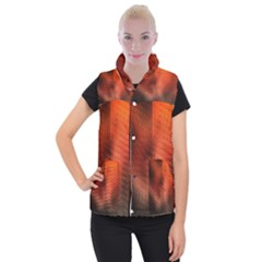 Background Technical Design With Orange Colors And Details Women s Button Up Puffer Vest