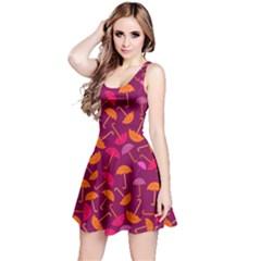 Umbrella Seamless Pattern Pink Lila Reversible Sleeveless Dress