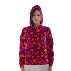 Umbrella Seamless Pattern Pink Lila Hooded Wind Breaker (women)