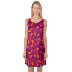 Umbrella Seamless Pattern Pink Lila Sleeveless Satin Nightdress