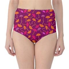 Umbrella Seamless Pattern Pink Lila High-Waist Bikini Bottoms