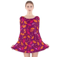 Umbrella Seamless Pattern Pink Lila Long Sleeve Velvet Skater Dress