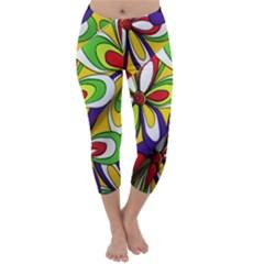 Colorful Textile Background Capri Winter Leggings