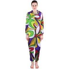 Colorful Textile Background Hooded Jumpsuit (ladies)