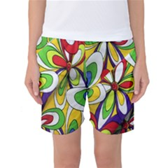 Colorful Textile Background Women s Basketball Shorts