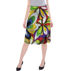 Colorful Textile Background Midi Beach Skirt