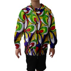 Colorful Textile Background Hooded Wind Breaker (kids)