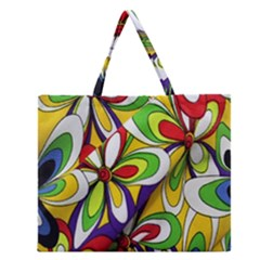 Colorful Textile Background Zipper Large Tote Bag