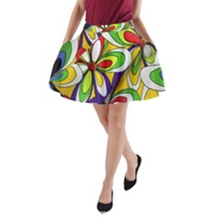 Colorful Textile Background A Line Pocket Skirt