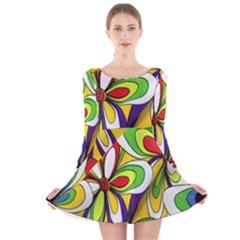 Colorful Textile Background Long Sleeve Velvet Skater Dress