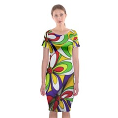 Colorful Textile Background Classic Short Sleeve Midi Dress