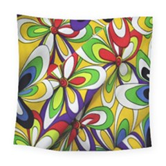 Colorful Textile Background Square Tapestry (large)
