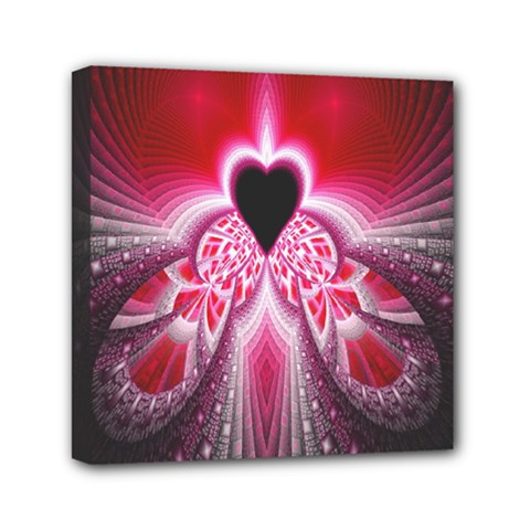 Illuminated Red Hear Red Heart Background With Light Effects Mini Canvas 6  X 6