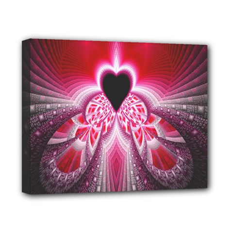 Illuminated Red Hear Red Heart Background With Light Effects Canvas 10  X 8