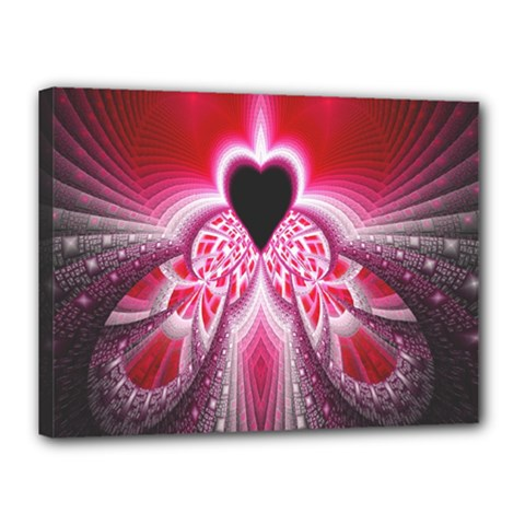 Illuminated Red Hear Red Heart Background With Light Effects Canvas 16  x 12