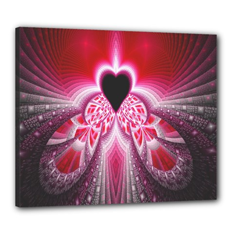 Illuminated Red Hear Red Heart Background With Light Effects Canvas 24  X 20