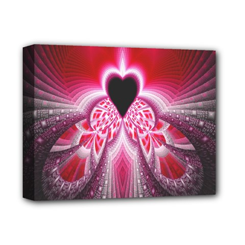 Illuminated Red Hear Red Heart Background With Light Effects Deluxe Canvas 14  x 11