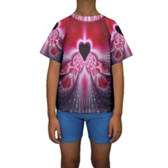 Illuminated Red Hear Red Heart Background With Light Effects Kids  Short Sleeve Swimwear