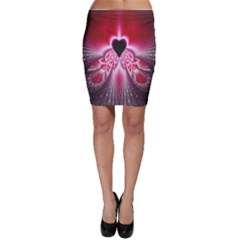 Illuminated Red Hear Red Heart Background With Light Effects Bodycon Skirt