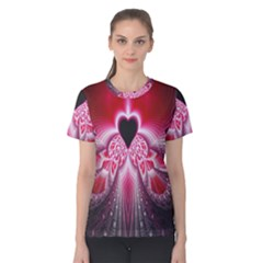 Illuminated Red Hear Red Heart Background With Light Effects Women s Cotton Tee