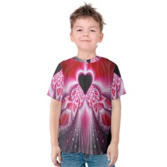Illuminated Red Hear Red Heart Background With Light Effects Kids  Cotton Tee