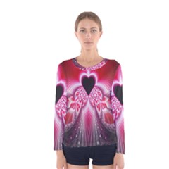 Illuminated Red Hear Red Heart Background With Light Effects Women s Long Sleeve Tee