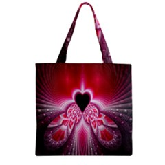 Illuminated Red Hear Red Heart Background With Light Effects Zipper Grocery Tote Bag