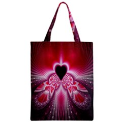 Illuminated Red Hear Red Heart Background With Light Effects Zipper Classic Tote Bag
